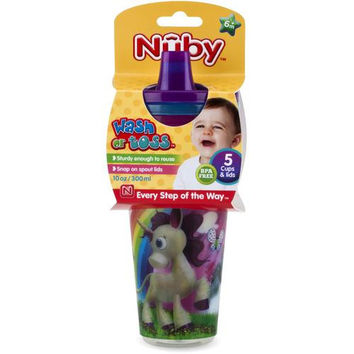 Nuby Wash or Toss 10 oz. Cups with Spout Lid (5 Pack)