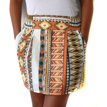 Orange Tribal Mini Skirt with side pockets, teen and womens skirt