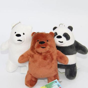 1 Pc Hot sale We Bare Bears cartoon Plush toy The Three Bare Bears grizzly panda ice bear Plush Pendant toys
