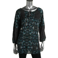 Style & Co. Womens Beaded Printed Tunic Top