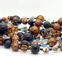 """30"""" Double Strand Brown and Black Vendome Necklace"""