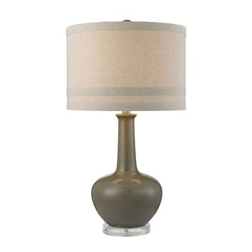 Ceramic Table Lamp in Grey Glaze And Acrylic Grey,Clear