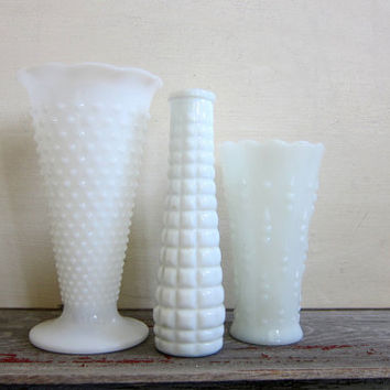 20% OFF SALE Set of 3 Vintage White Milk Glass Vases / tall hobnail vase