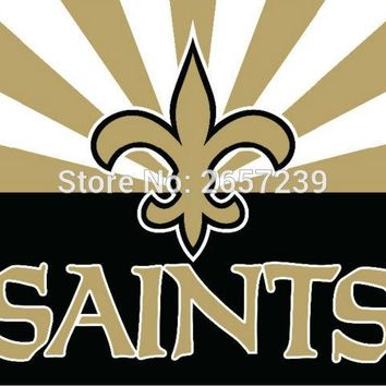 New Orleans Saints wordmark new style Flag 3x5FT NFL banner 100D 150X90CM Polyester brass grommets custom66, Free Shipping