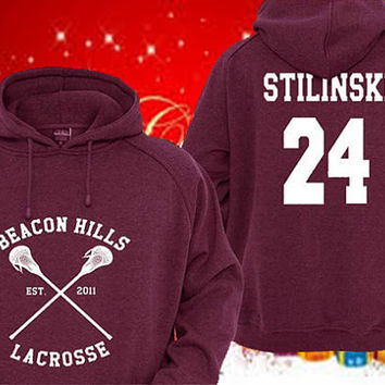 Personalized back Teen Wolf  Stiles Stilinski 24 Maroon Pullover Sweater Sweatshirt Hoodie By sArIMiRaSapEcEL shop