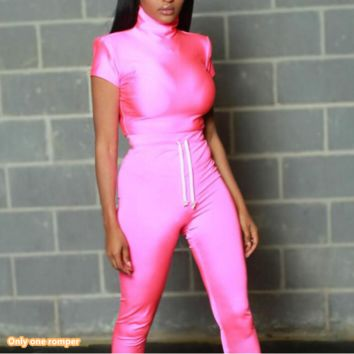 Summer new women's sexy short-sleeved high-neck tight-fitting jumpsuit