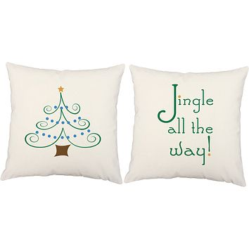 Jingle All the Way Christmas Tree Throw Pillows