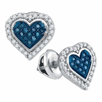 10kt White Gold Women's Round Blue Color Enhanced Diamond Heart Love Stud Screwback Earrings 1-4 Cttw - FREE Shipping (USA/CAN)