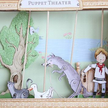 PDF Peter and the Wolf Puppet Theater by sarahjanestudios on Etsy