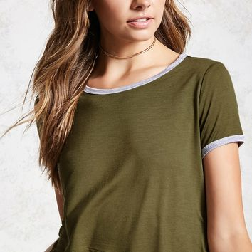 Semi-Cropped Ringer Tee