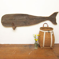 Three Potato Four - Folk Art Carved Wooden Whale