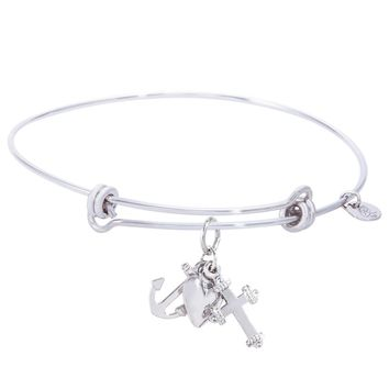 Sterling Silver Balanced Bangle Bracelet With Faith,Hope,Charity Charm