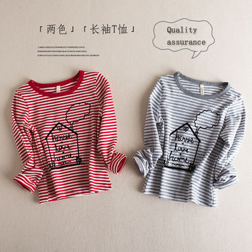 unisex funny children girl t shirts baby T-shirts kids Casual Blouse Tops Cartoon  Long Sleeve stripe pullover 2-7y