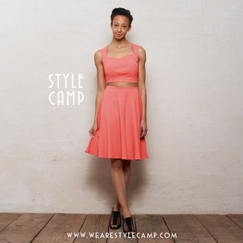 PREMIUM Grace Two-Piece Crop Top & Skater Skirt Co-Ord Set in Coral Pink Ponte