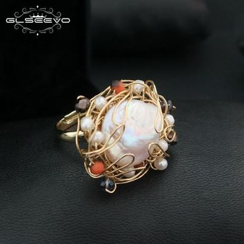 GLSEEVO Natural Fresh Water Baroque White Big  Pearl Adjustable Rings For Women Handmade Vintage Wedding Ring Jewelry GR0191