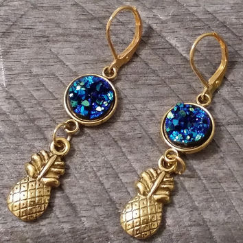 Druzy earrings- Gold tone ocean blue druzy pineapple earrings