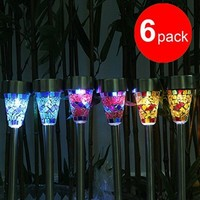 Solar Led lights, GRDE Solar Mosaic Border Garden Post Lights, Garden Decoration Stake Lights Christmas Gift with ON/OFF Switch (6 Pack)