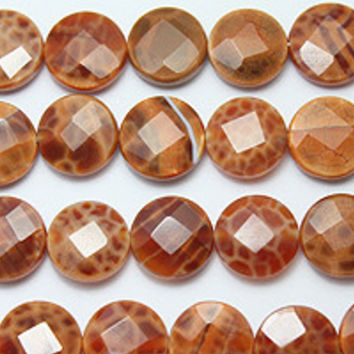"""Fire agate faceted coin bead strand 16"""" 12mm"""