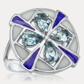 875 Silver Ring with Blue Topaz, Purple Enamel, White Enamel