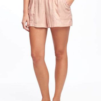 """Mid-Rise Soft Pull-On Utility Shorts for Women (4"""") 