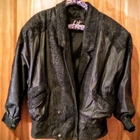 Vintage 80s Black Leather Winlit Puffy Shoulder Padded Textured Double Breasted Oversized Jacket Small
