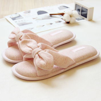 Spring and summer cotton silk thread art Home Furnishing memory cotton slip slippers bathroom slippers cute bow ladies slippers