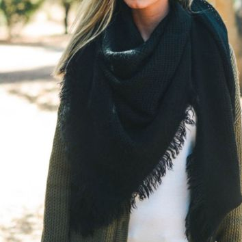 Warm Black Open Weave Square Scarf / Blanket