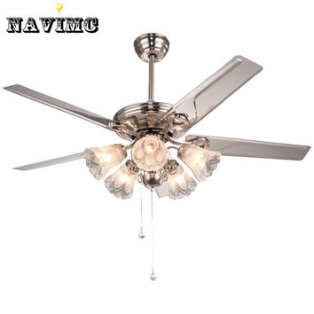 White Crystal Ceiling Fan W/ Lights Kits For Kids' Room Coffee House Living Room Lamp Stainless Steel W/ 5 Blades Fan