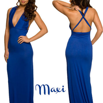 Lingerie Sleepwear Royal Blue Maxi Dress by NaughtyNaughty on Etsy