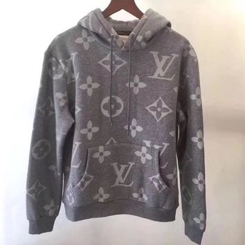 LV Louis Vuitton Fashion Trending Women Men Print Long Sleeve Top Sweater Hoodie I-@-LZP