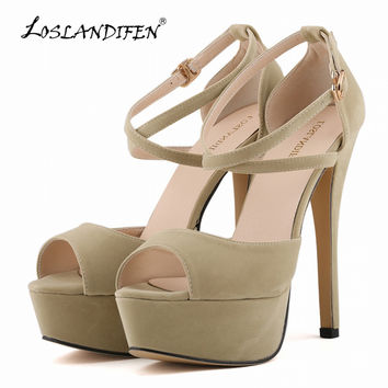 LOSLANDIFEN Sandals ultra-thin legs still bridal shoes super high heels shoes waterproof shoes Lorrain Tiffin 817-8VE