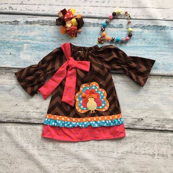 Fall Thanksgiving baby girls kids turkey brown wave chevron party dress woven boutique children clothes matching accessories