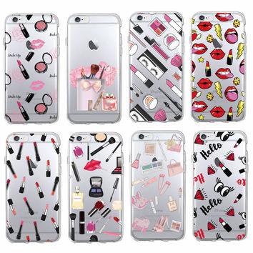 Fashion Sexy Lips Makeup Cosmetics Lipstick Powder Soft Clear Phone Case Coque Fundas For iPhone 7 7Plus 6 6S 5 5S SE 5C SAMSUNG