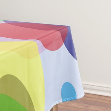 Pastel ovals, colorful geometric circles pattern 2 tablecloth