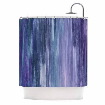 "Ebi Emporium ""Waterfall Blur, Purple Blue"" Purple Blue Abstract Stripes Painting Mixed Media Shower Curtain"