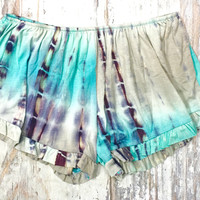 WALK THIS WAVE TIE DYE SHORTS IN TEAL/GREY