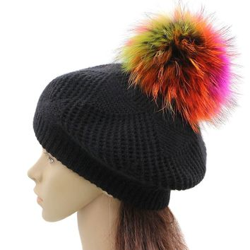 GZHILOVINGL Wool Knit Beret Hats For Women Winter Slouchy Beanie Cap With Pom Pom