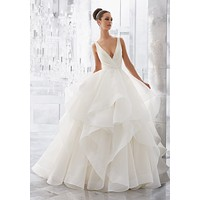 Blu by Morilee 5577 Milly V-Neckline Flounced Organza Ball Gown Wedding Dress