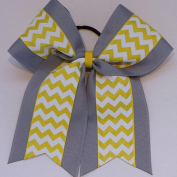 Grey with Yellow Chevron Cheer Bow