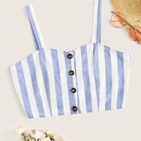 Striped Button Front Cami Top