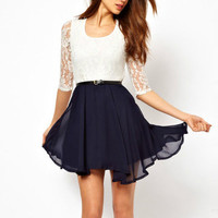 Lace stitching chiffon dress pleated skirt