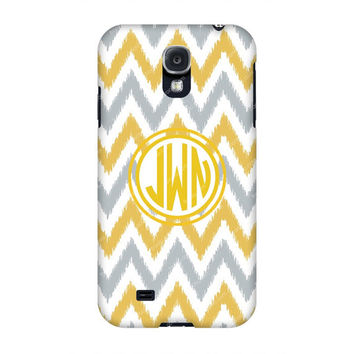 Monogram Samsung case, Monogram Galaxy s4, Yellow Grey Chevron Monogram Samsung s4 case, Monogram s3/Note 2 case, Customized Samsung Galaxy