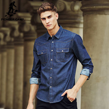 famous 100% Cotton Long Sleeve Denim Shirts Men Casual Men shirts New design Fashion Autumn Spring