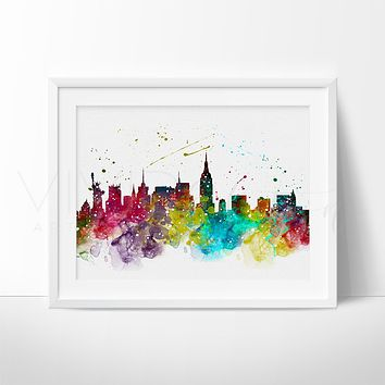 New York City Skyline 3 Watercolor Art Print