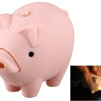 Cartoon Pig LED Light-up Keychain with Sound Effects (Pink)