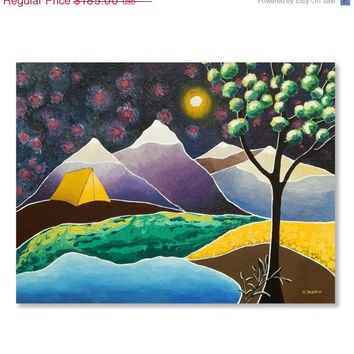 Mountain Camping Art - Yellow Tent Outdoors Adventure Art - Full Moon Wall Art - Original Painting - Acrylic Painting on Canvas - 18x24