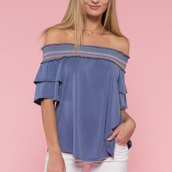 Embroidered Off Shoulder Top - Blue