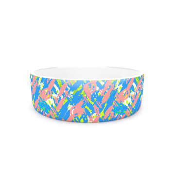 "Nandita Singh ""Abstract Print Blue"" Blue Pink Pet Bowl"