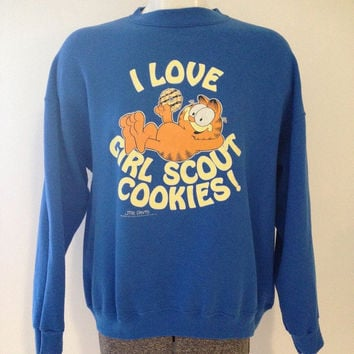 Vintage Garfield Girl Scout Cookies Crewneck Sweatshirt XL