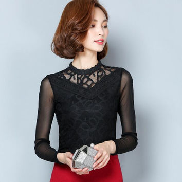 2016 autumn new female Korean Slim hollow out stitching casual blouse shirt long-sleeved lace tops plus size women clothing